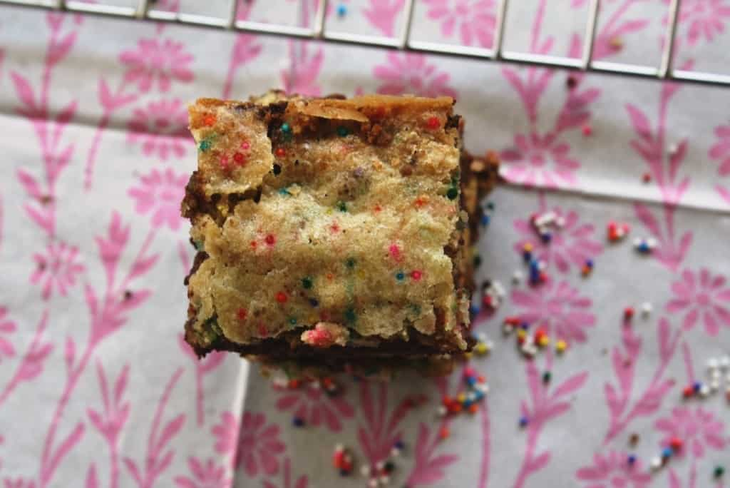 Cake Batter Blondies With Chocolate Chip Cookie Crusts