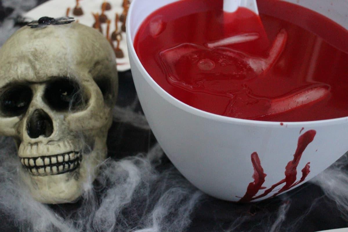 Bloody Hands Punch Halloween DIY Snacks.