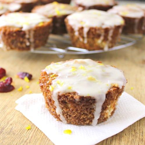 Streusel Filled Orange Cranberry Swirl Muffins with Orange Glaze