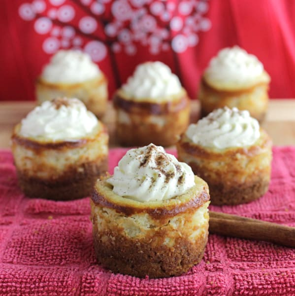 Mini Eggnog Cheesecakes with Gingersnap Crust