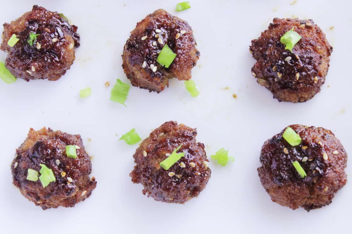 Sriracha Infused Saucy Asian Meatballs with Szechuan Glaze