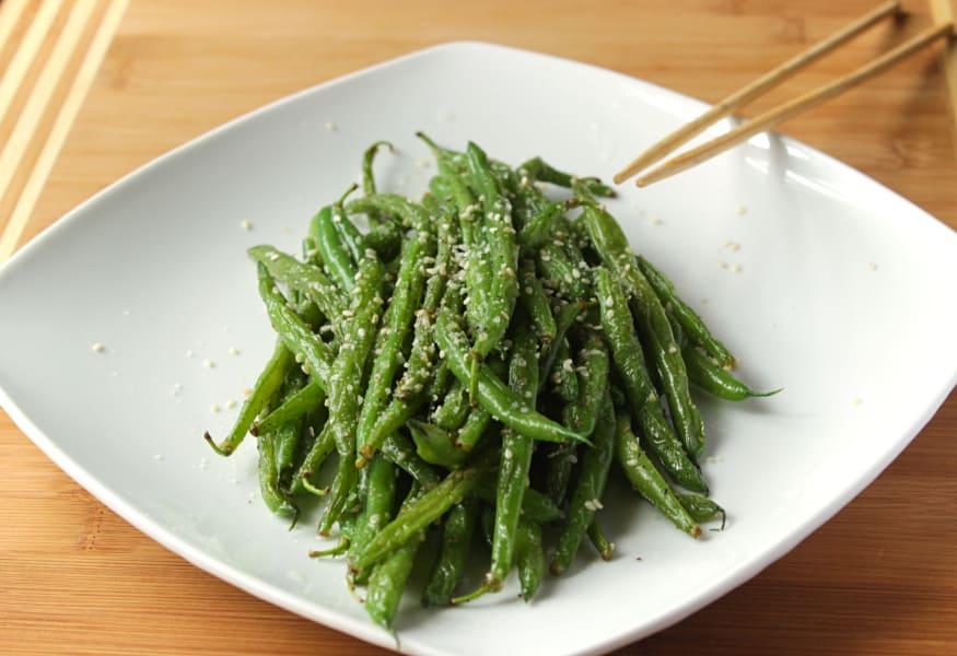 Sesame Stir Fry Green Beans on a white plate.