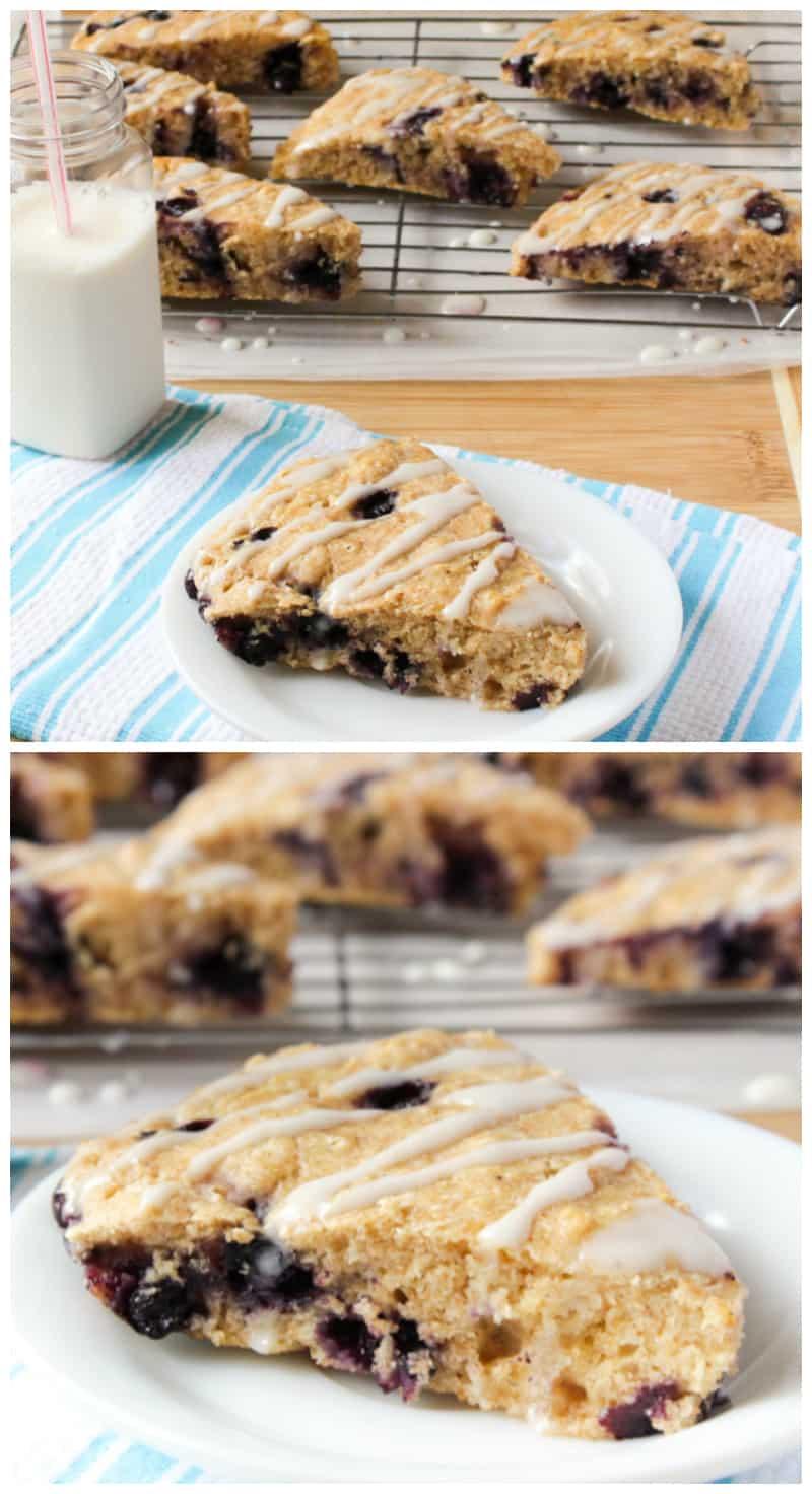 Healthier Lemon Blueberry Scones with Lemon Cream Cheese Glaze