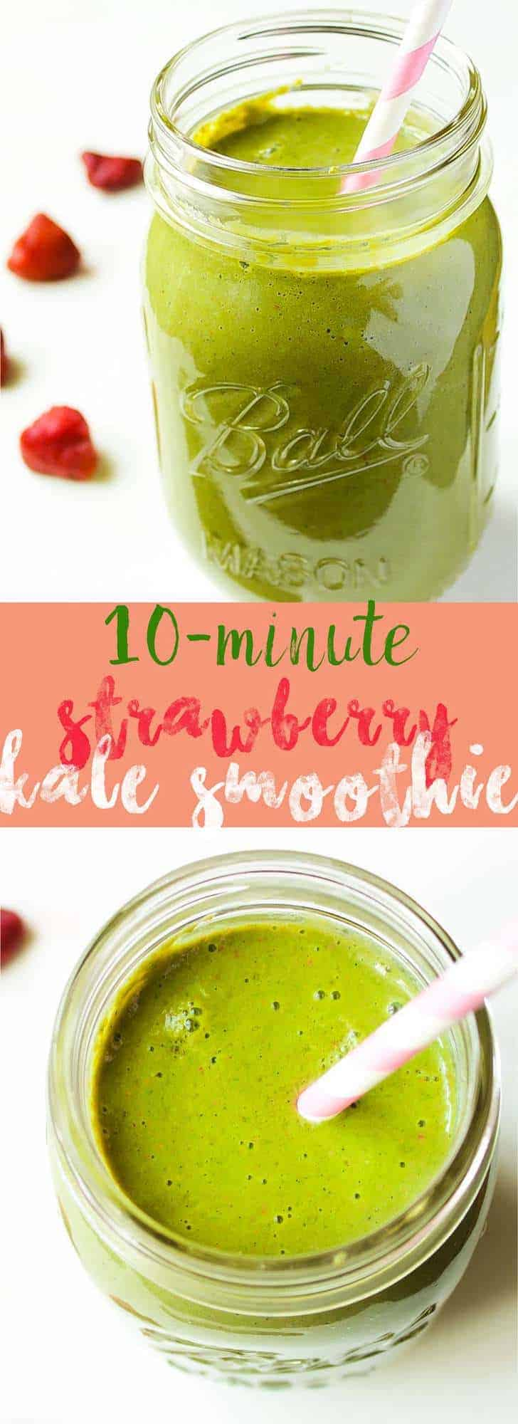 This delicious and super charged nutritious Strawberry & Kale Smoothie is made in 10 minutes and so delicious! via https://jessicainthekitchen.com
