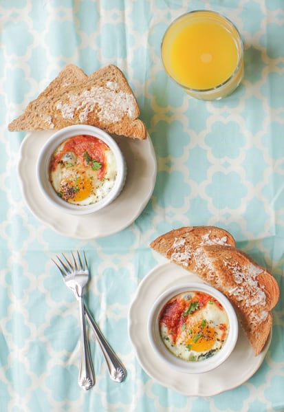 Baked Eggs in ramikins.