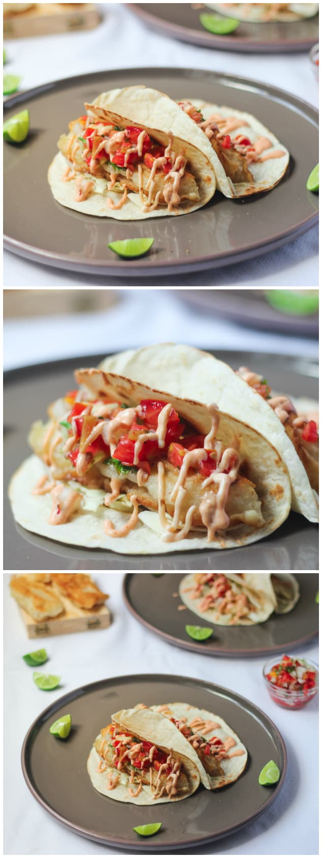 Side shot of tacos on grey plates.