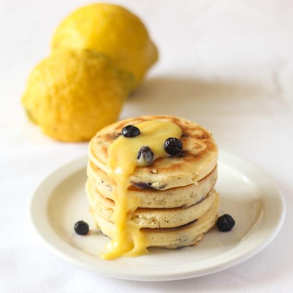 Blueberry Lemon Pancakes with Lemon Curd