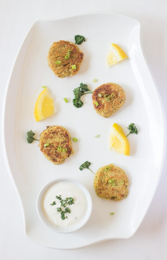 Chickpea Cakes with Lemon Yogurt Sauce