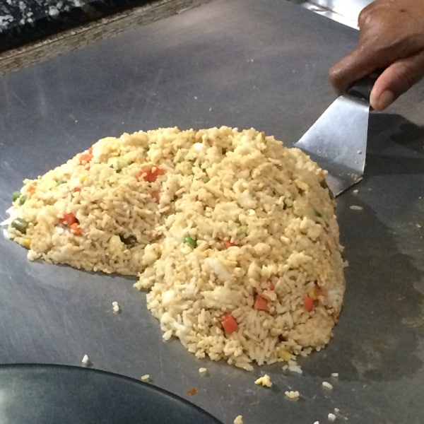 Rice on a griddle.
