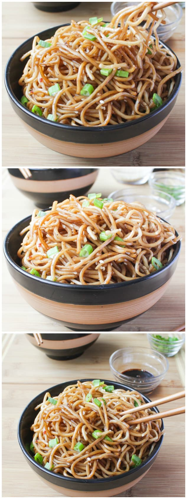 3 different angles of Sesame Noodles with Honey Ginger Sauce in a black and brown bowl.