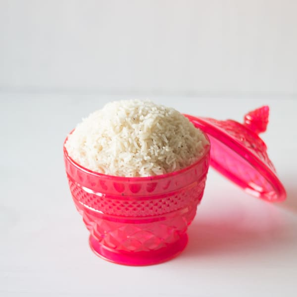 Pink bowl with white rice