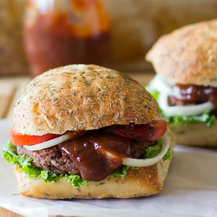 Black Bean and Quinoa Burgers with Strawberry BBQ Sauce (Vegan + GF)