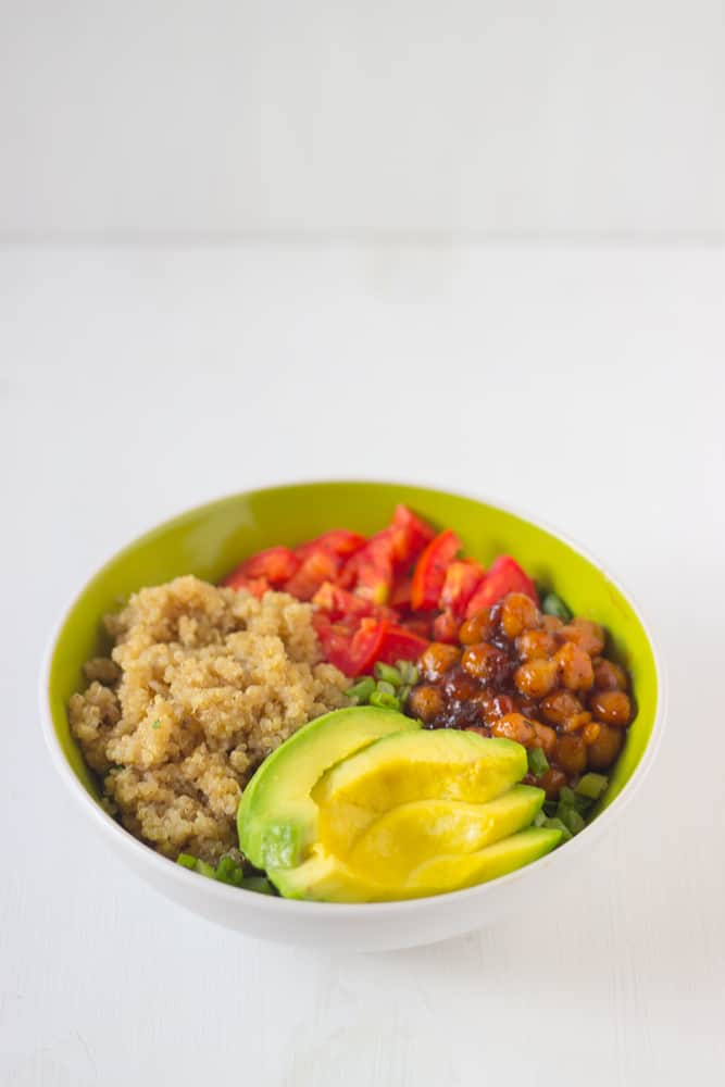 Honey & Lime Quinoa Salad Bowl with Spicy BBQ Chickpeas-3