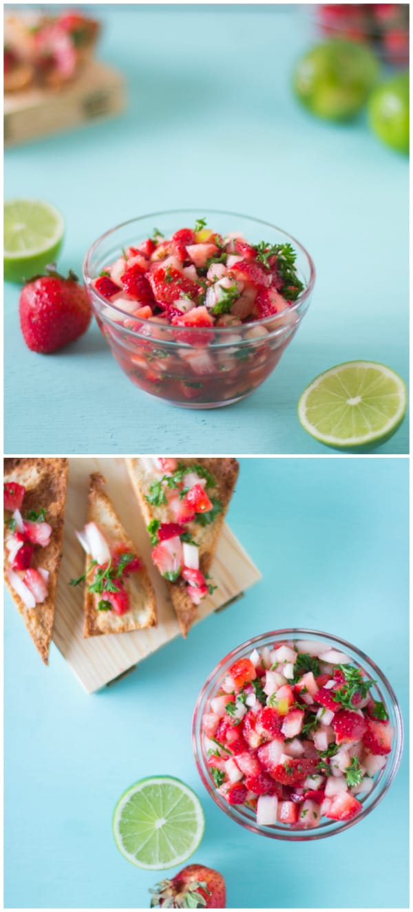 Montage of strawberry salsa in a glass bowl on a blue table.