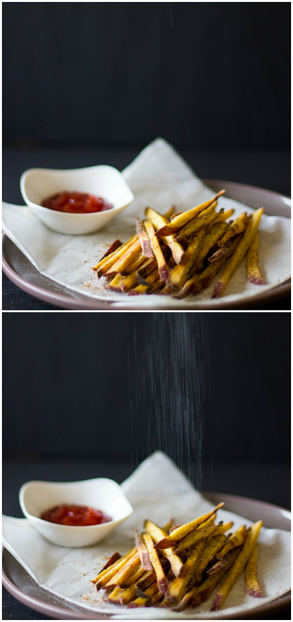 Montage of sweet potato fries with salt being sprinkled on them.