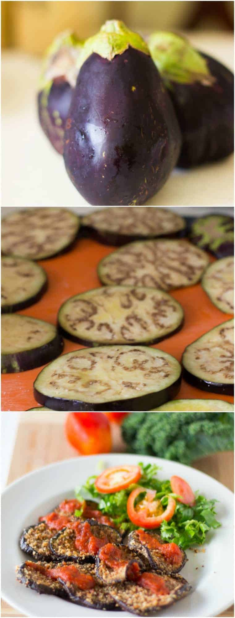 Montage of eggplant being sliced and baked.