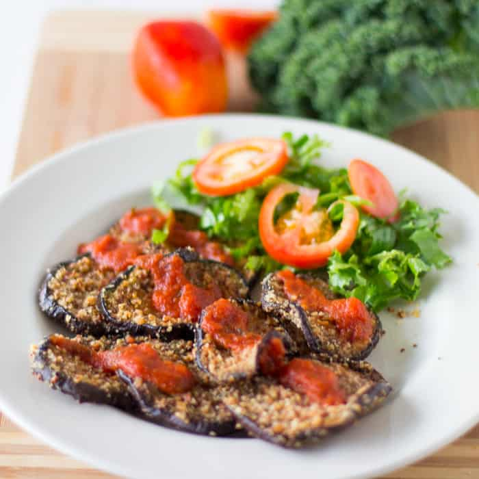 Almond-Crusted Eggplant is a crunchy and delicious way to enjoy eggplant, topped with juicy marinara sauce! #vegan #meatless #meatlessmondays #dinner #glutenfree