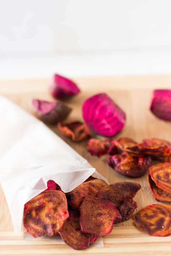 Beet chips wrapped in parchment.