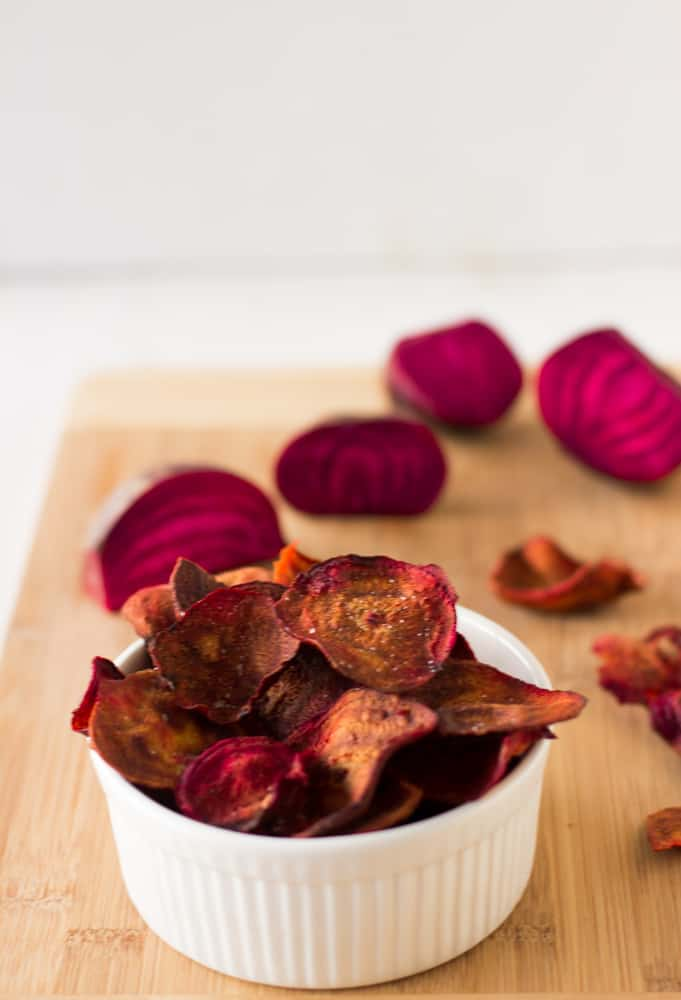 Beet Chips are a bright, colourful and and sweet and salty crunchy snack! My entire family loved it! #beets #vegan #snack #healthy