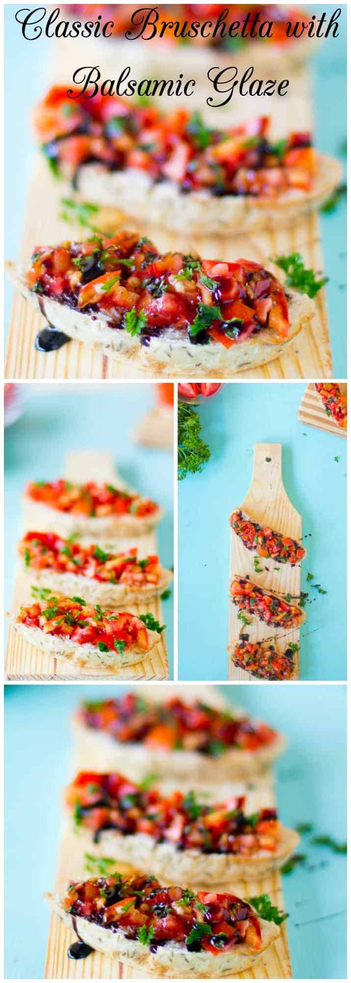 Montage of bruschetta with Balsamic Glaze on wooden boards.