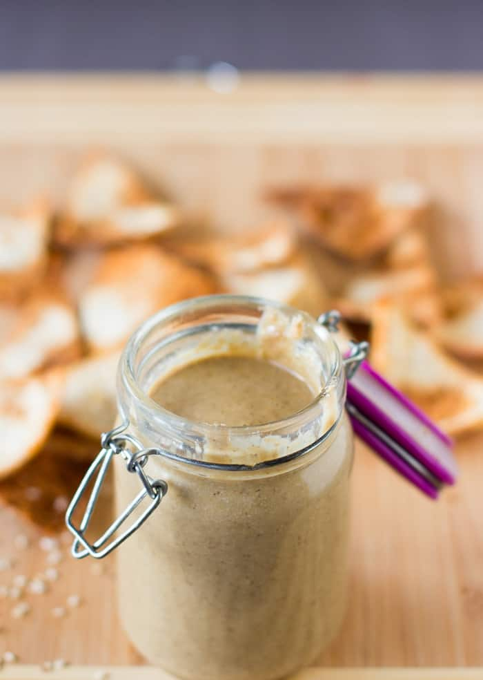 How To Make Tahini with only two ingredients! The results are a smoky tahini that tastes amazing in dips. #vegan #dip #cleaneating