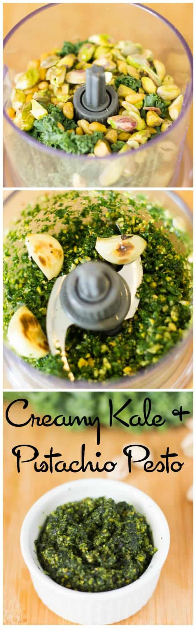 Kale and Pistachio Pesto is the best pesto I have ever had! It's so creamy and flavourful, and perfect for a dip, your pasta or on anything! #pesto #vegetarian #vegan #kale #pistachios