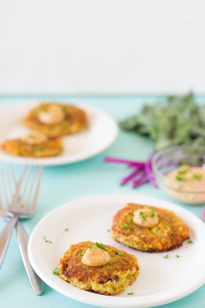 Sweet Potato and Kohlrabi Fritters on a white plate.