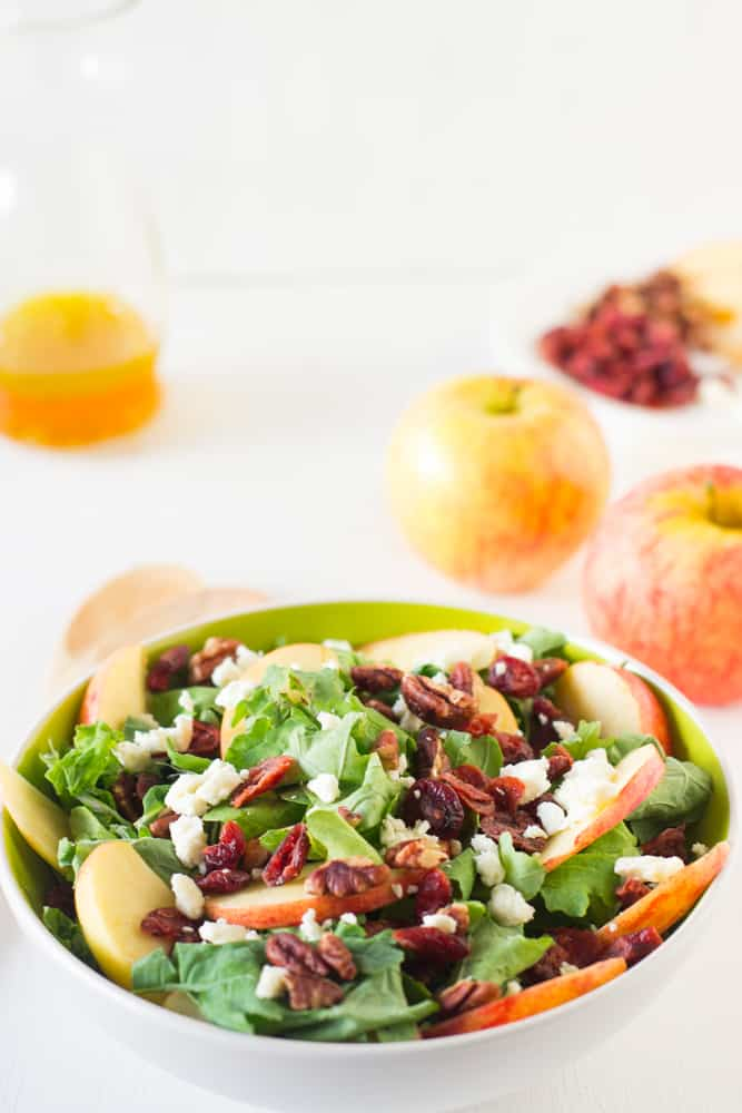 Apple Pecan and Feta Salad with Honey Apple Dressing is loaded with fall flavours and is sweet, crunchy and good for you! #apple #salad #fall #healthy #vegetarian-2