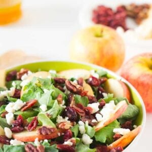 Apple Pecan and Feta Salad with Honey Apple Dressing is loaded with fall flavours and is sweet, crunchy and good for you! #apple #salad #fall #healthy #vegetarian-4