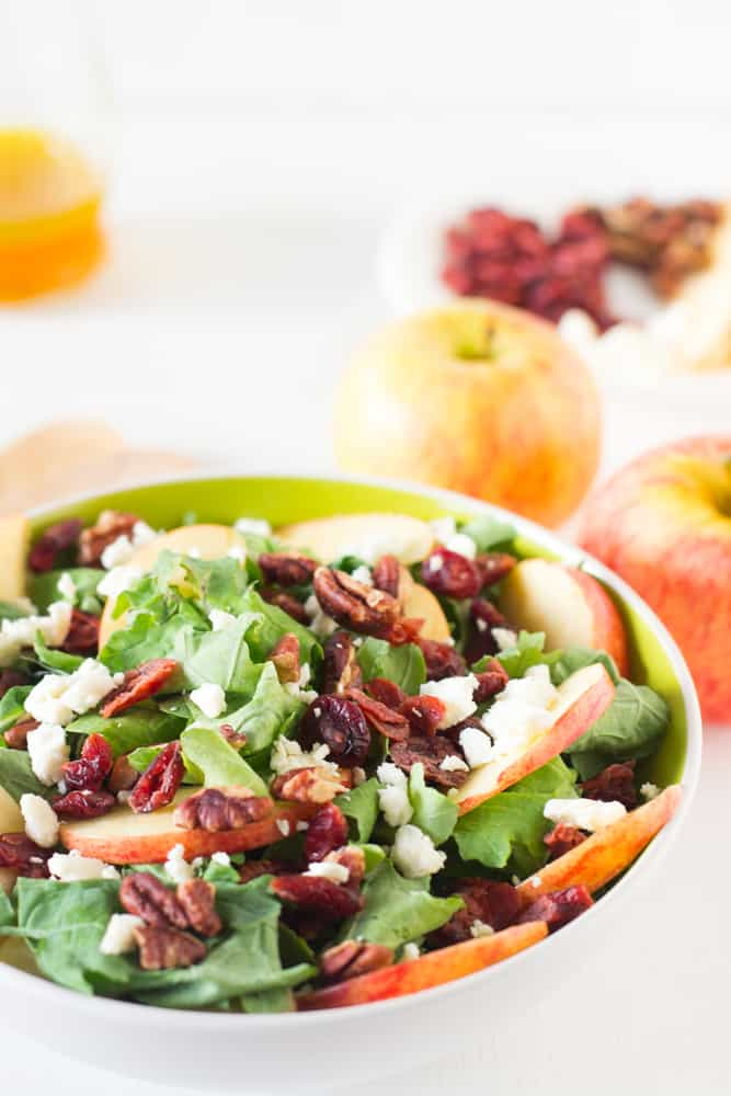 Apple Pecan and Vegan Feta Salad with Maple Apple Dressing