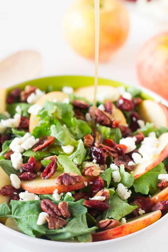 Apple Pecan and Feta Salad with Honey Apple Dressing is loaded with fall flavours and is sweet, crunchy and good for you! #apple #salad #fall #healthy #vegetarian-5