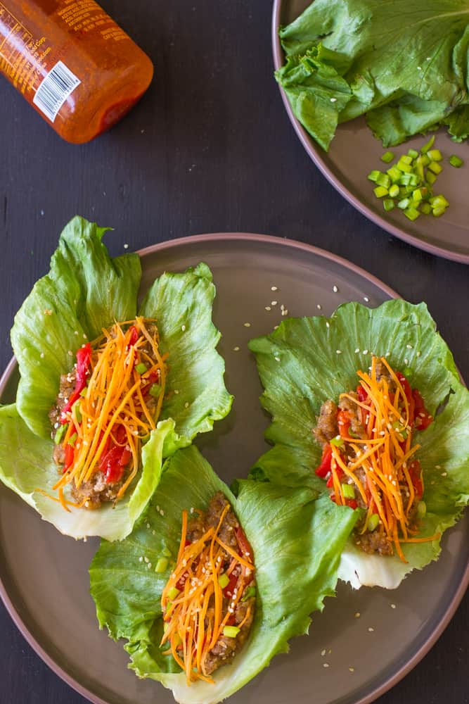 Vegan Asian Lettuce Wraps with Sweet Sriracha Sauce are healthy, delicious and made with an incredible unique filling!! #vegetarian #vegan #healthy