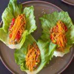 Overhead shot of asian lettuce wraps.