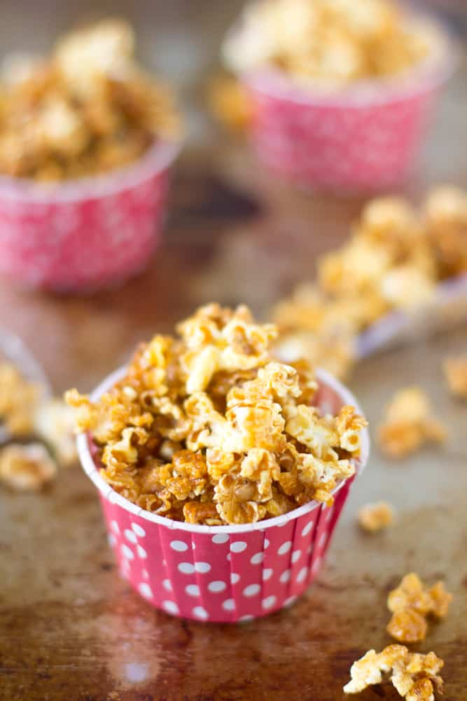 Caramel Corn is an easy sweet and crunchy fall snack that tastes much better than the storebought version and with no corn syrup! #caramelcorn #fall #snack #kidfriendly-2