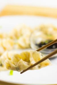 Chinese dumplings on a white plate with dipping sauce.