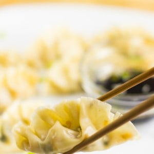 Chinese Dumplings (Potstickers) with a delicious vegetable filling are dipped into sweet ginger sauce for a filling asian dish! #vegan #potstickers #chinesedumplings #asian_