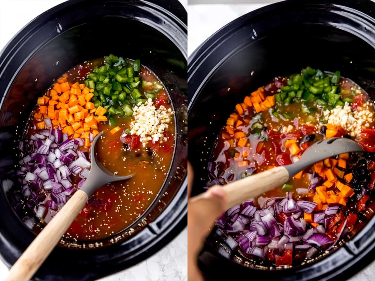step by step shots showing the making of vegan chili