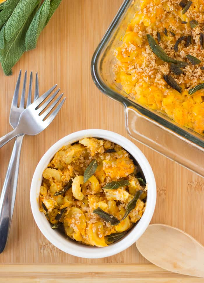 Vegan Butternut Squash Mac and Cheese is a deliciously sweet take on a macaroni and cheese casserole that is vegan, gluten free and so creamy! #vegan #butternutsquash #glutenfree #fall #healthy