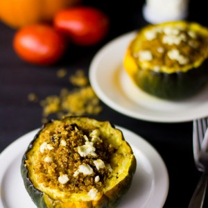 This Quinoa, Goat Cheese and Sun dried Tomato Stuffed Brown Butter Acorn Squash is healthy, delicious and loaded with flavour! #quinoa #fallrecipes #healthy #dinner-5
