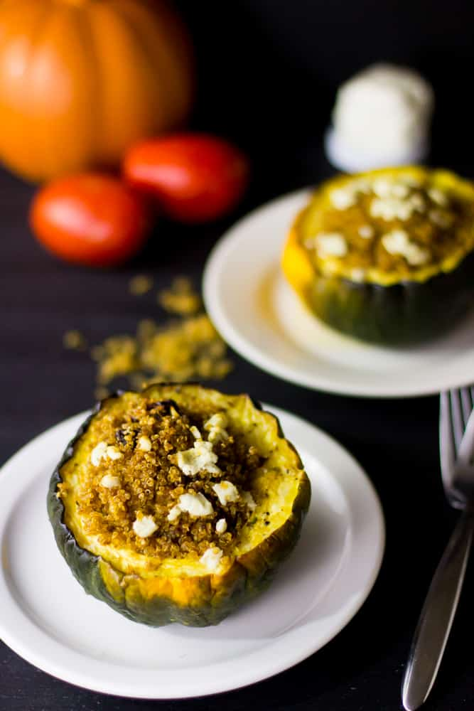 This Vegetarian Stuffed Acorn Squash is baked with quinoa, brown butter, goat cheese and delicious sun dried tomato! It's healthy and so easy to make! via https://jessicainthekitchen.com