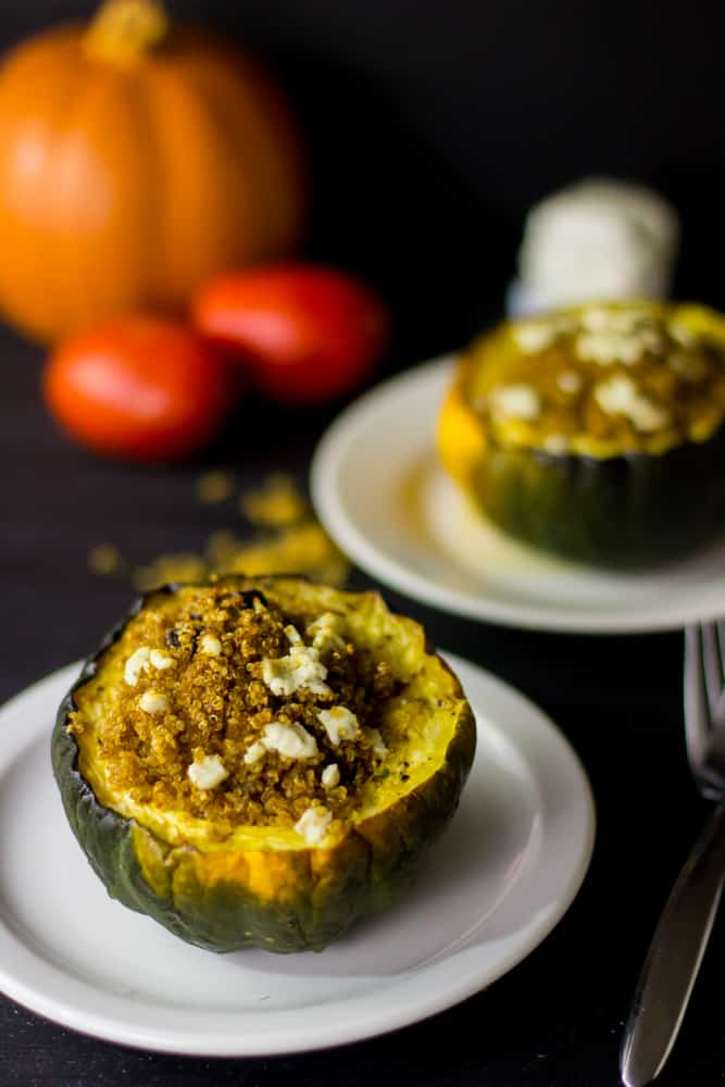 This Quinoa, Goat Cheese and Sun dried Tomato Stuffed Brown Butter Acorn Squash is healthy, delicious and loaded with flavour! #quinoa #fallrecipes #healthy #dinner