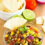 a bowl of black bean salsa.