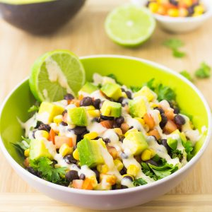 This Quinoa and Black Bean Burrito Bowl is deliciously nutritious, filling and topped with a creamy chipotle dressing!