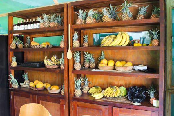 Cabinet full of pineapples.