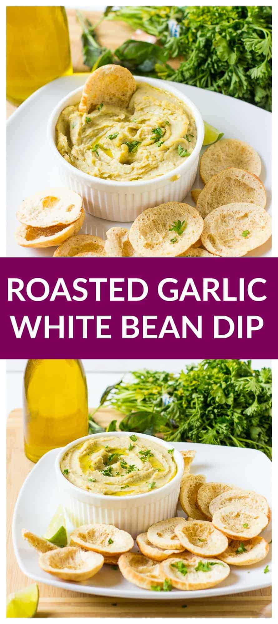 This Herbed Roasted Garlic White Bean Dip is ready in just 15 minutes! It's a delicious smooth vegan dip that will be perfect at your parties!