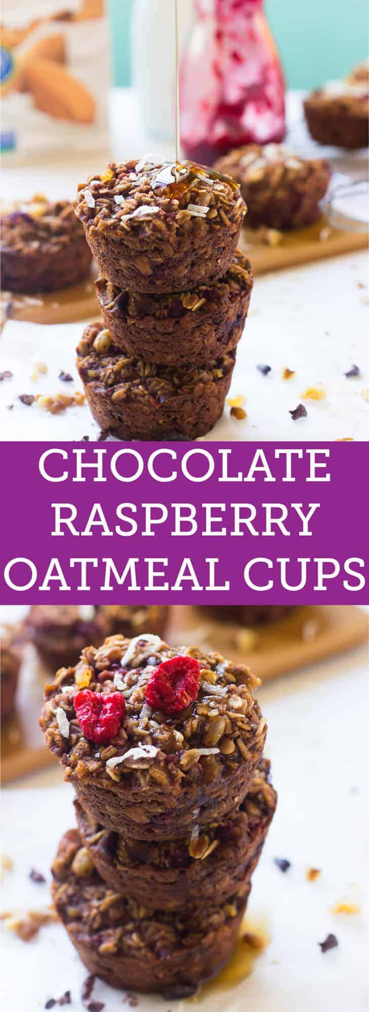 These Chocolate Raspberry Baked Oatmeal Cups are perfect for busy mornings! They taste look chewy delicious oatmeal cookies and are gluten free!