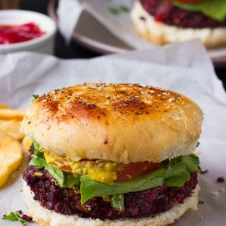 These Vegan Quinoa Beet Burgers are THE best veggie burgers I've ever made! Inspired by my favorite restaurant veggie burger, you'll be sinking your teeth into a flavorful, smoky and mouthwatering veggie burger!