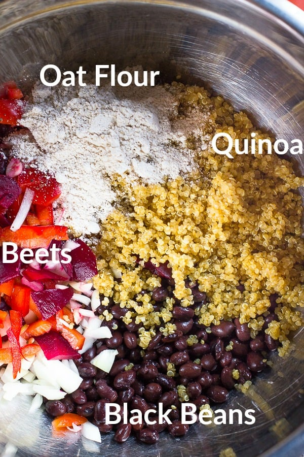 Top down shot of ingredients for beet burgers.