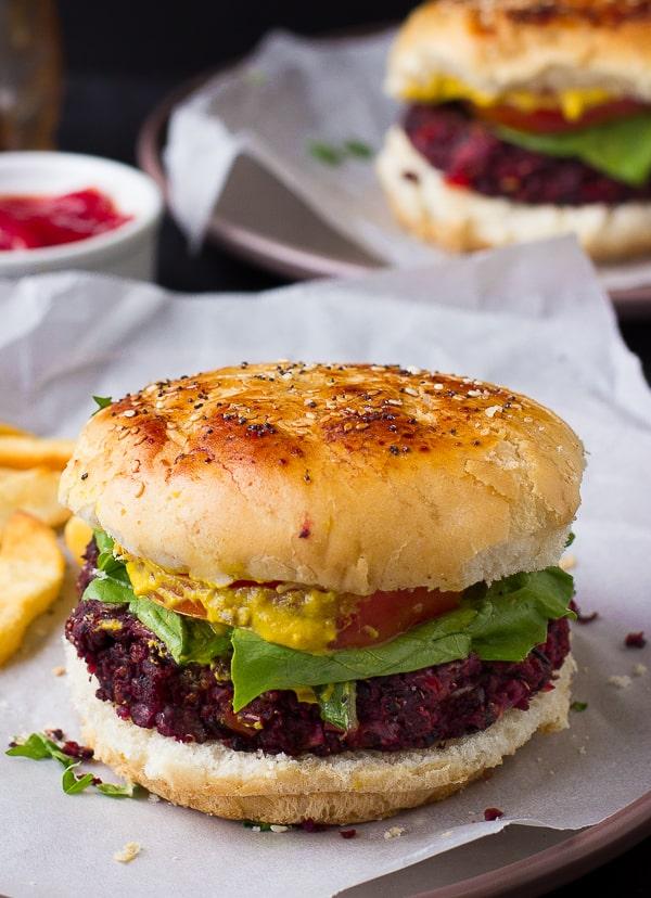 These Vegan Quinoa Beet Burgers