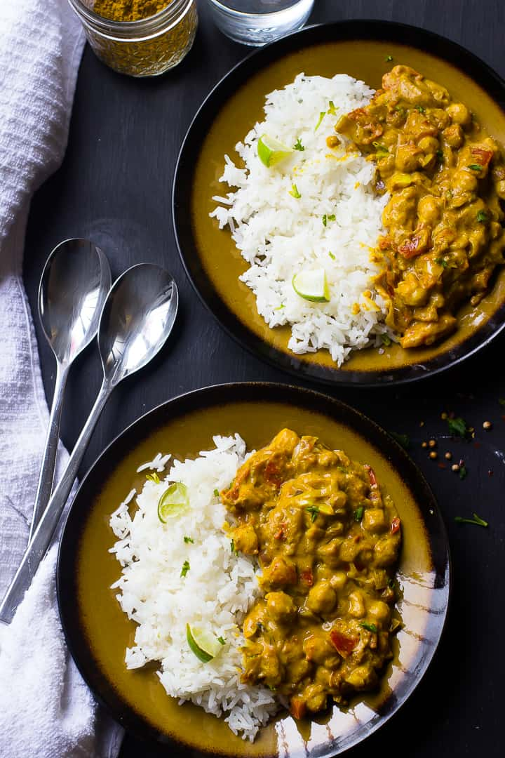 This Creamy Vegan Coconut Chickpea Curry is the BEST curry I've ever had! It's loaded with homemade grinded spices and incredibly flavorful! via https://jessicainthekitchen.com